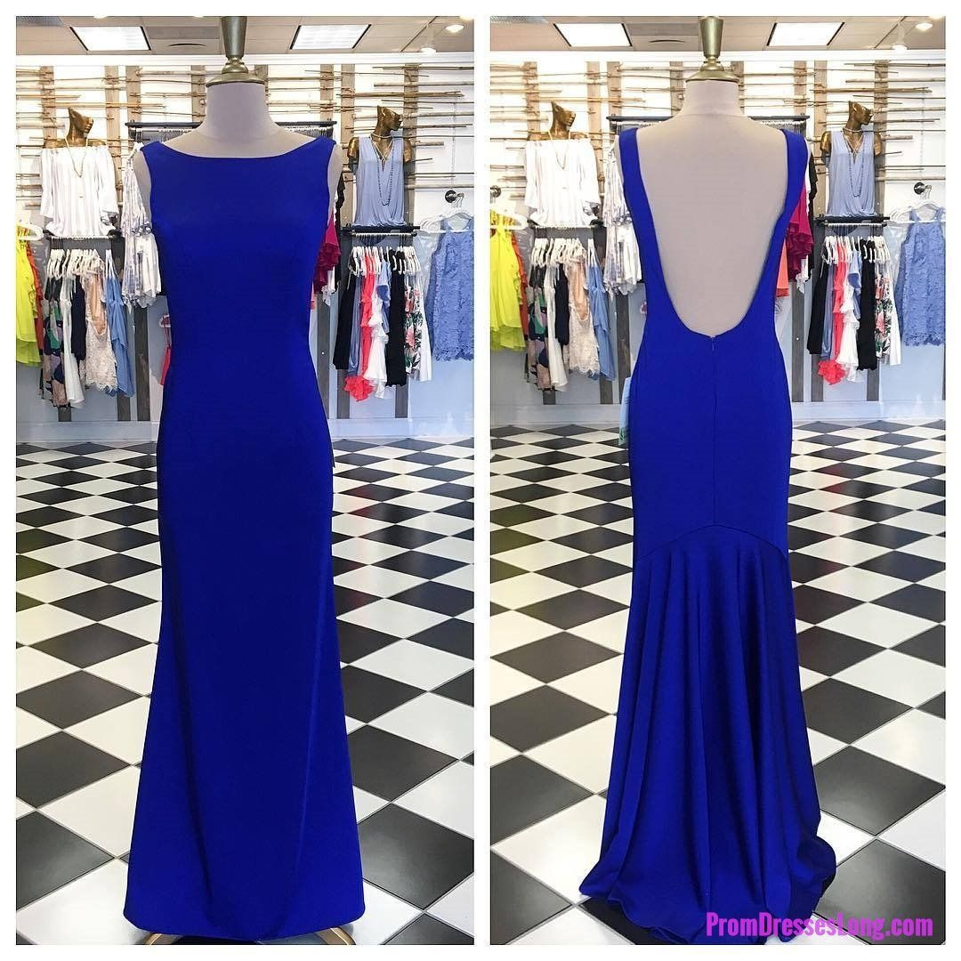 Simply elegant royal blue mermaid long prom dress with open back