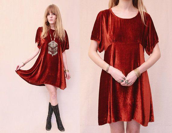 Vtg 70s Red Crushed Velvet Empire Waist Puff Sleeve Mini Dress M