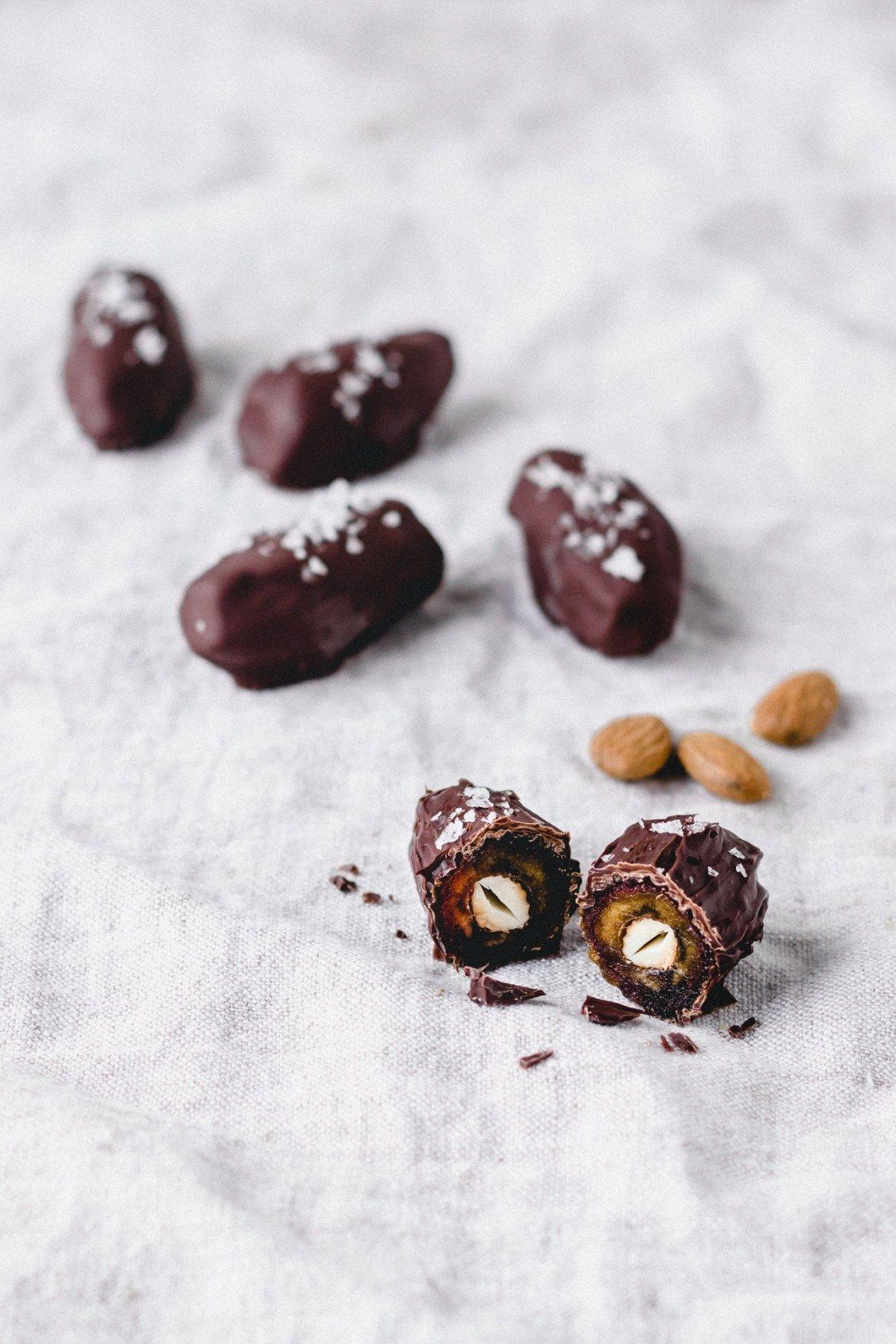 Vegan Salted Dark Chocolate Dates Stuffed With Almonds Recipe