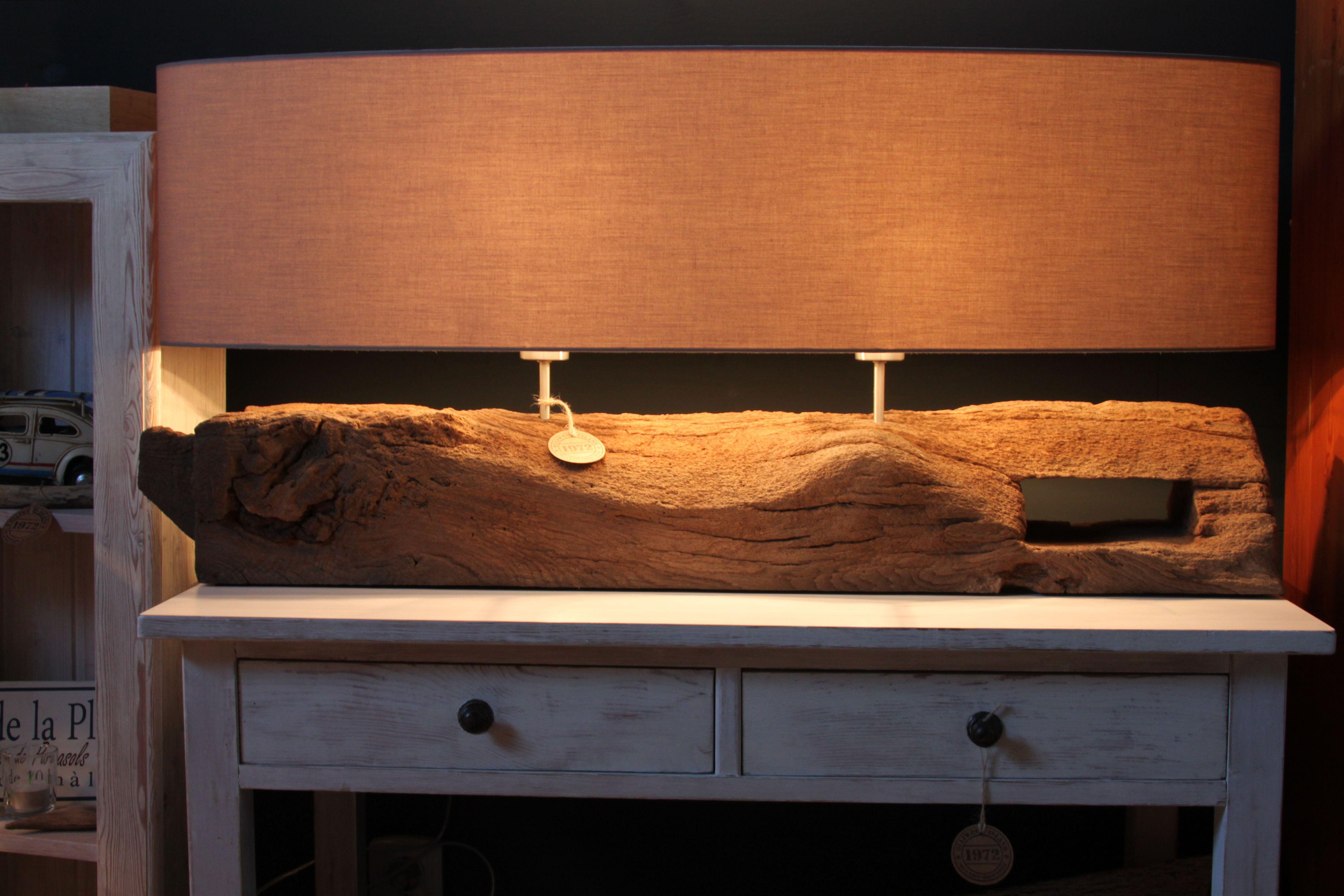 Tischlampe aus altem Fachwerkholz Design 100 by www