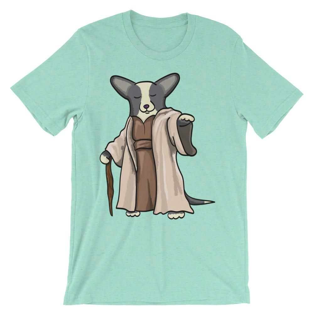 Yoda Corgi Tee Shirt - Black and White with TAIL - Unisex short sleeve t-shirt