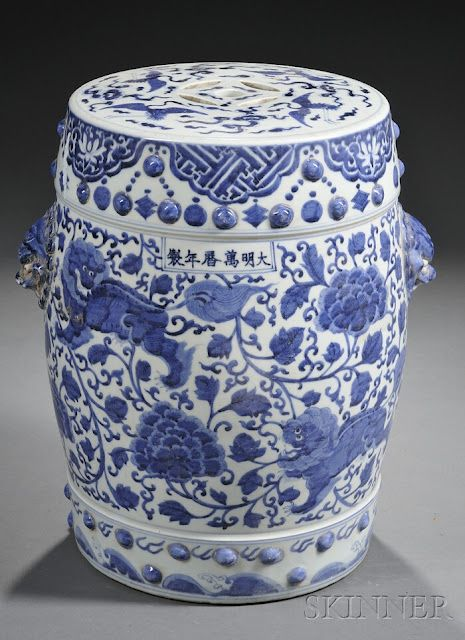 Chinese Blue And White Garden Seats, Blue And White Asian Garden Stool