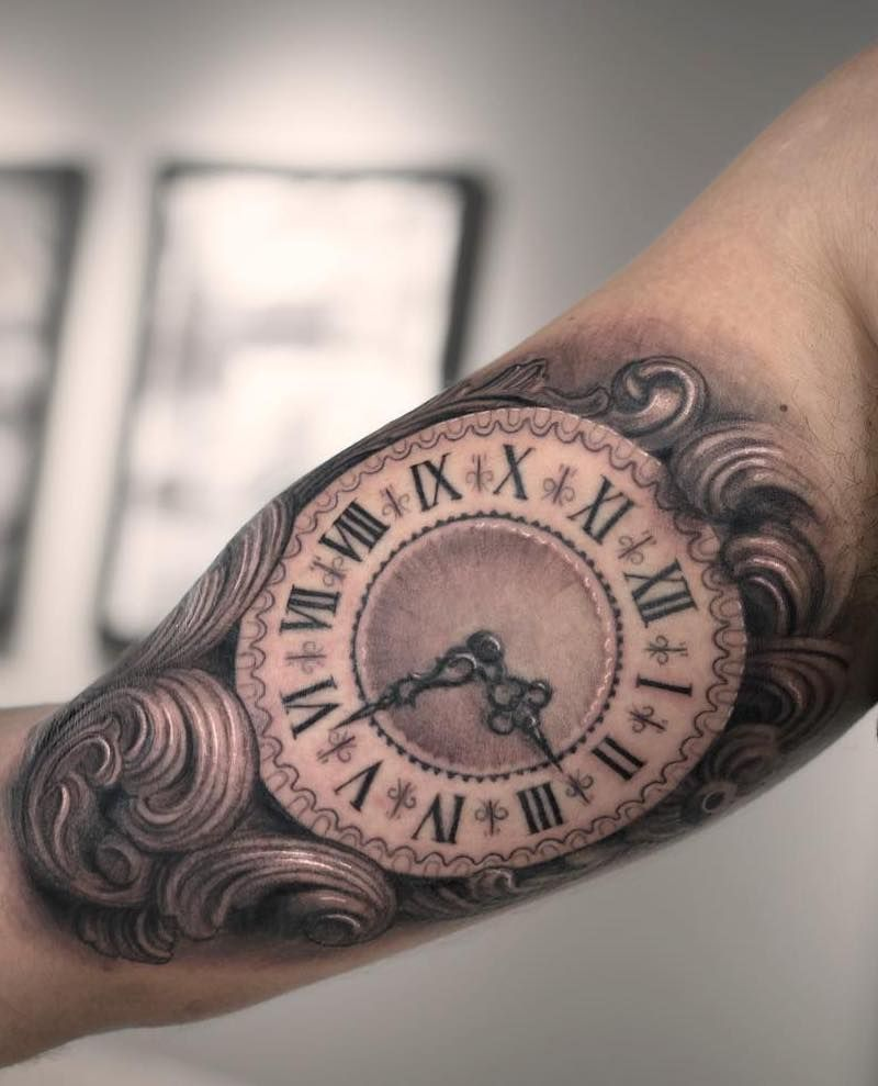 Roman Numeral Clock Tattoo : roman, numeral, clock, tattoo, Clock, Tattoo, Insider, Tattoo,, Tattoos,, Compass