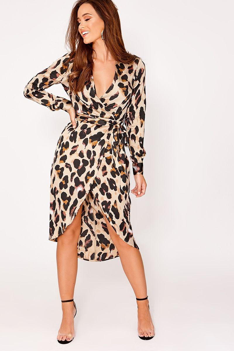 Wrap Next Print Day Gold Leopard Delivery Dress Satin Alexina Midi 0xq67pIqn
