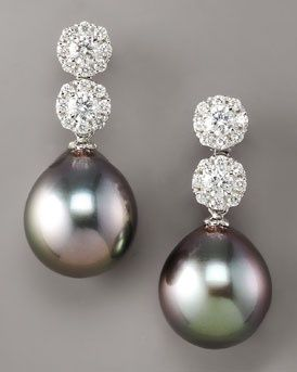 Ael Diamond Pearl Drop Earrings