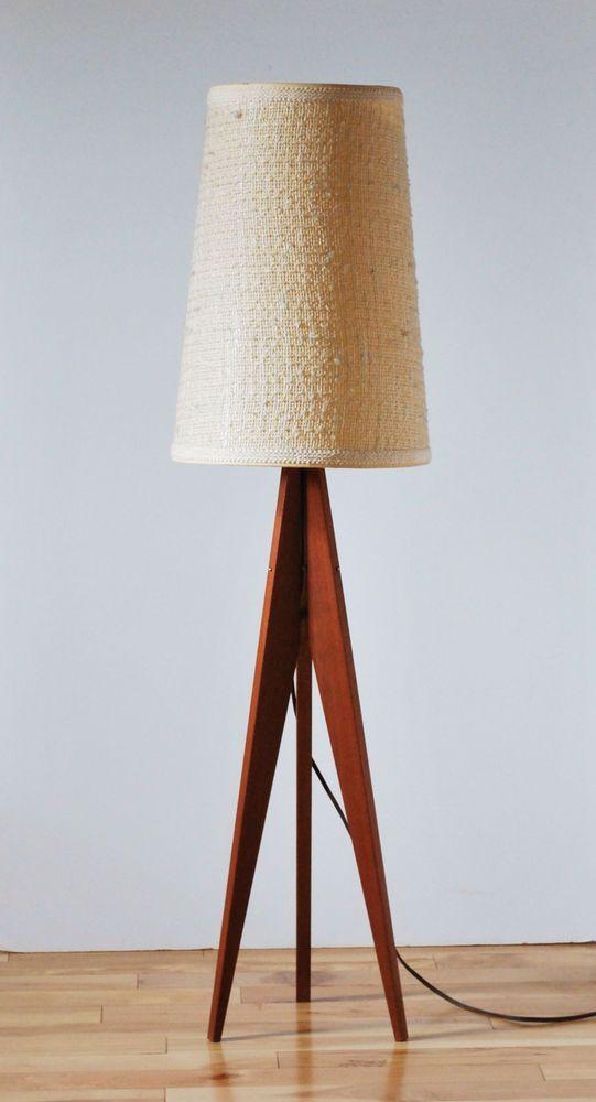 Mid Century Modern Danish Rare Scandinavian Tripod Teak Floor Lamp Shade Lisa Rau Reece Pinterest Midcentury And