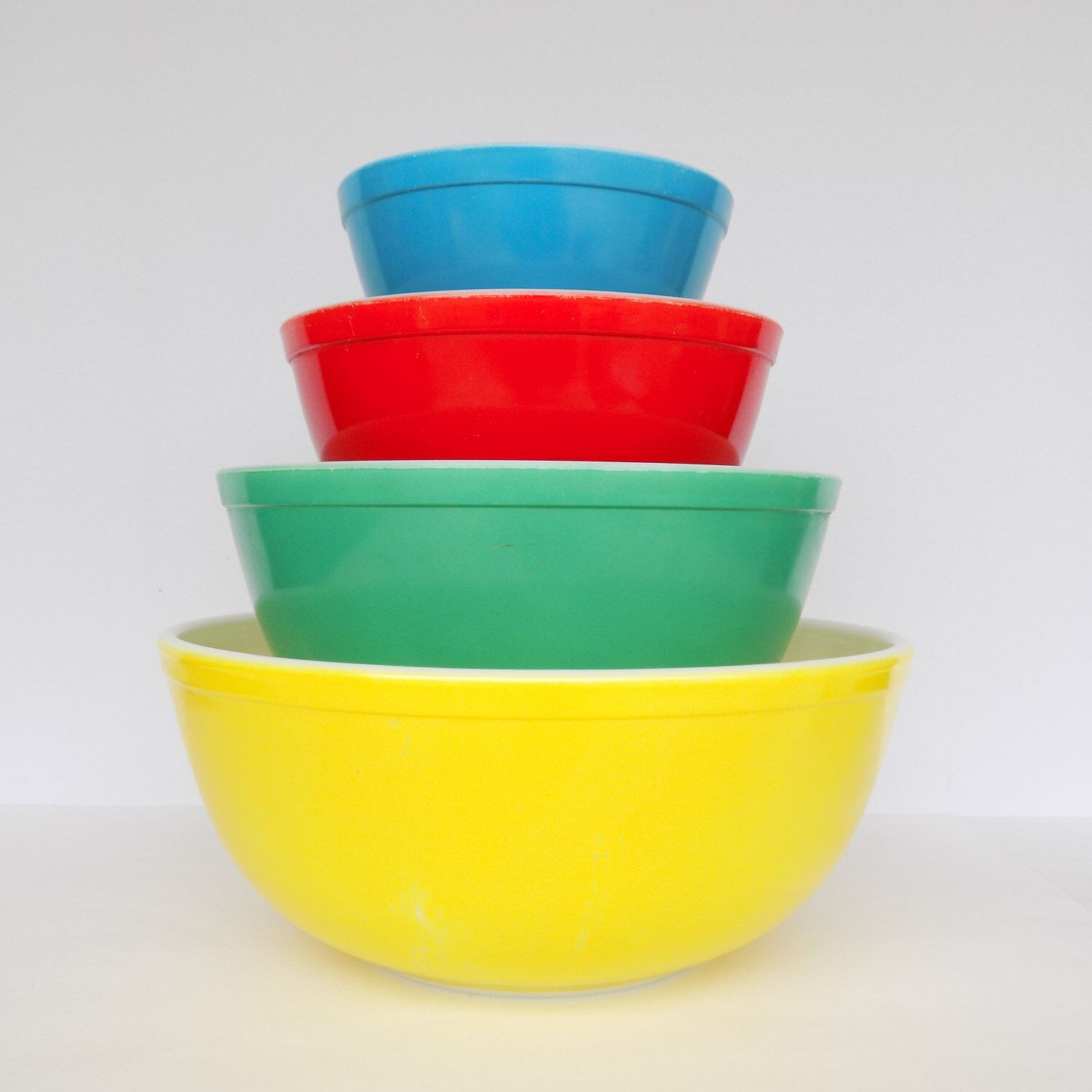 Vintage Pyrex Primary Colors Nesting Bowls Complete Set of 4 by ...