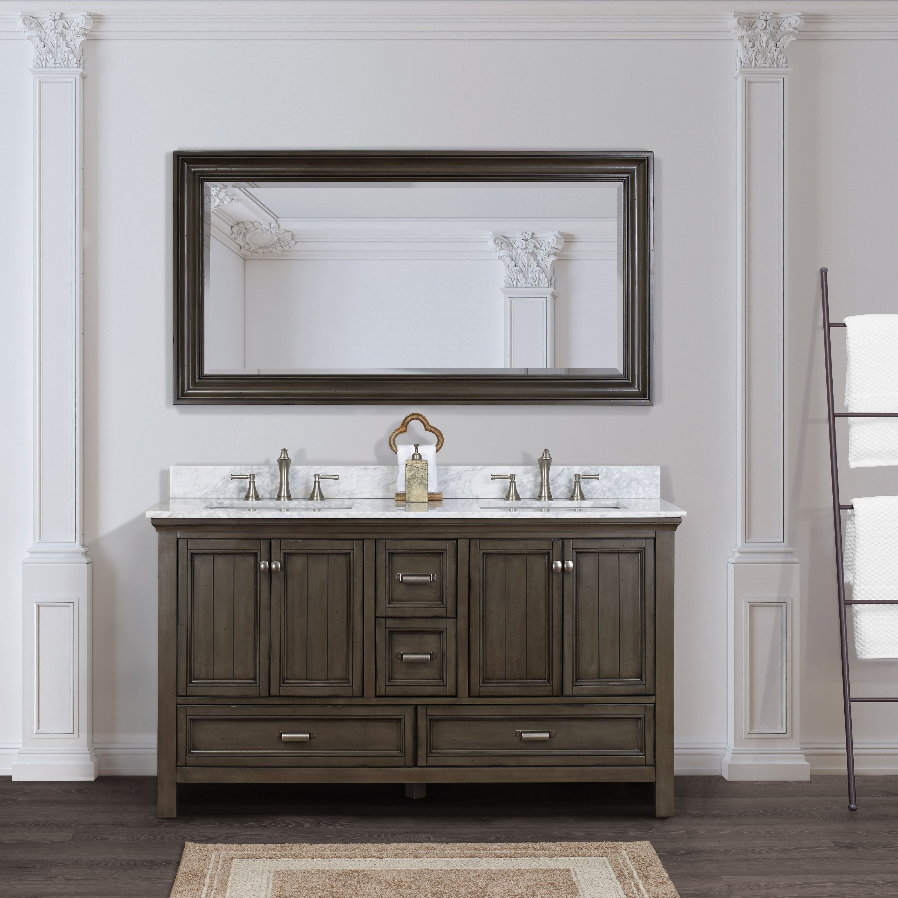 Foremost 60 Inches Free Standing Brantley Vanity Only Distressed Grey Bagv6022d With Images Double Vanity Bathroom Bathroom Sink Vanity Bathroom Vanity