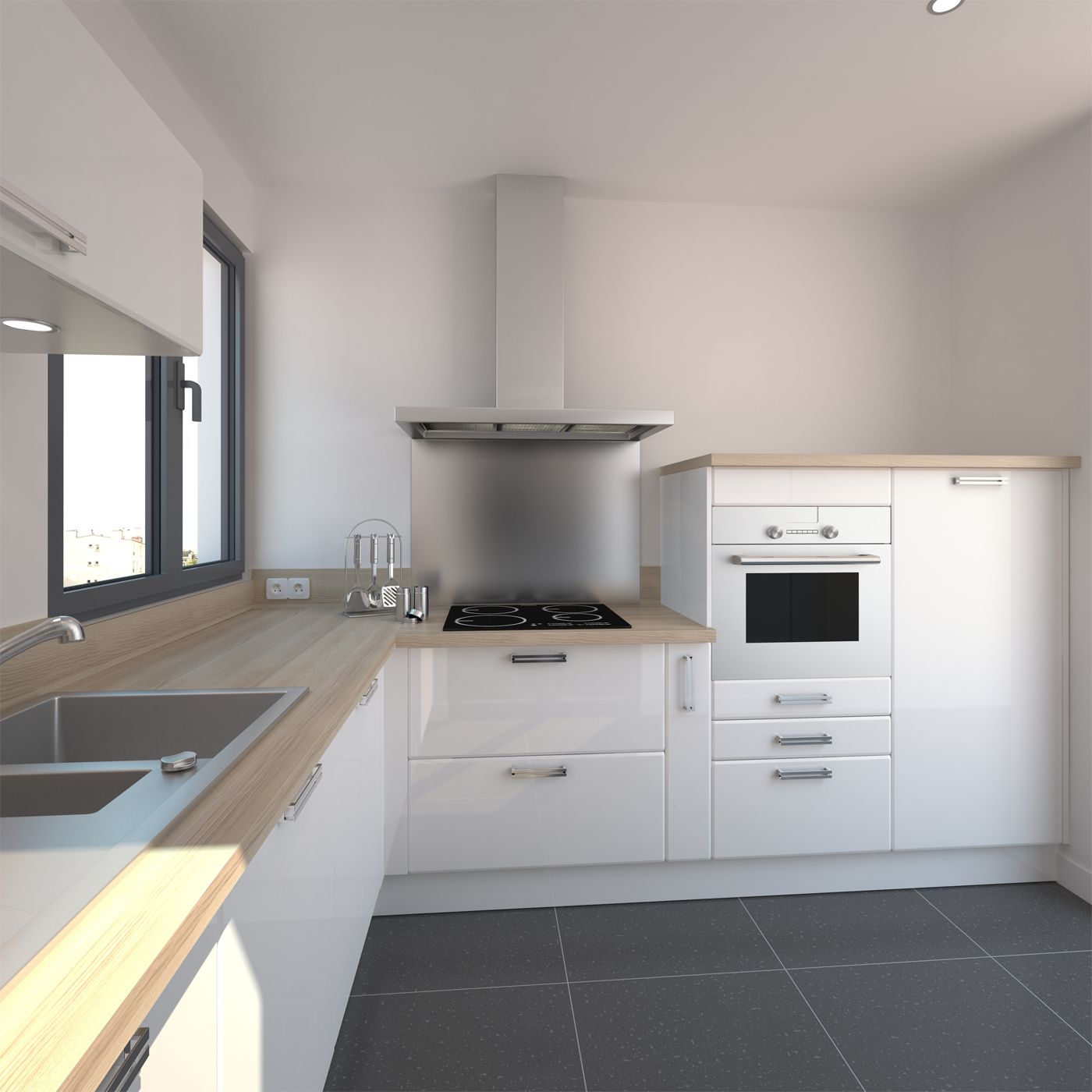 Cuisine Blanche Design Meuble IRIS Blanc Brillant Range Epice - Cuisine blanche avec parquet pour idees de deco de cuisine