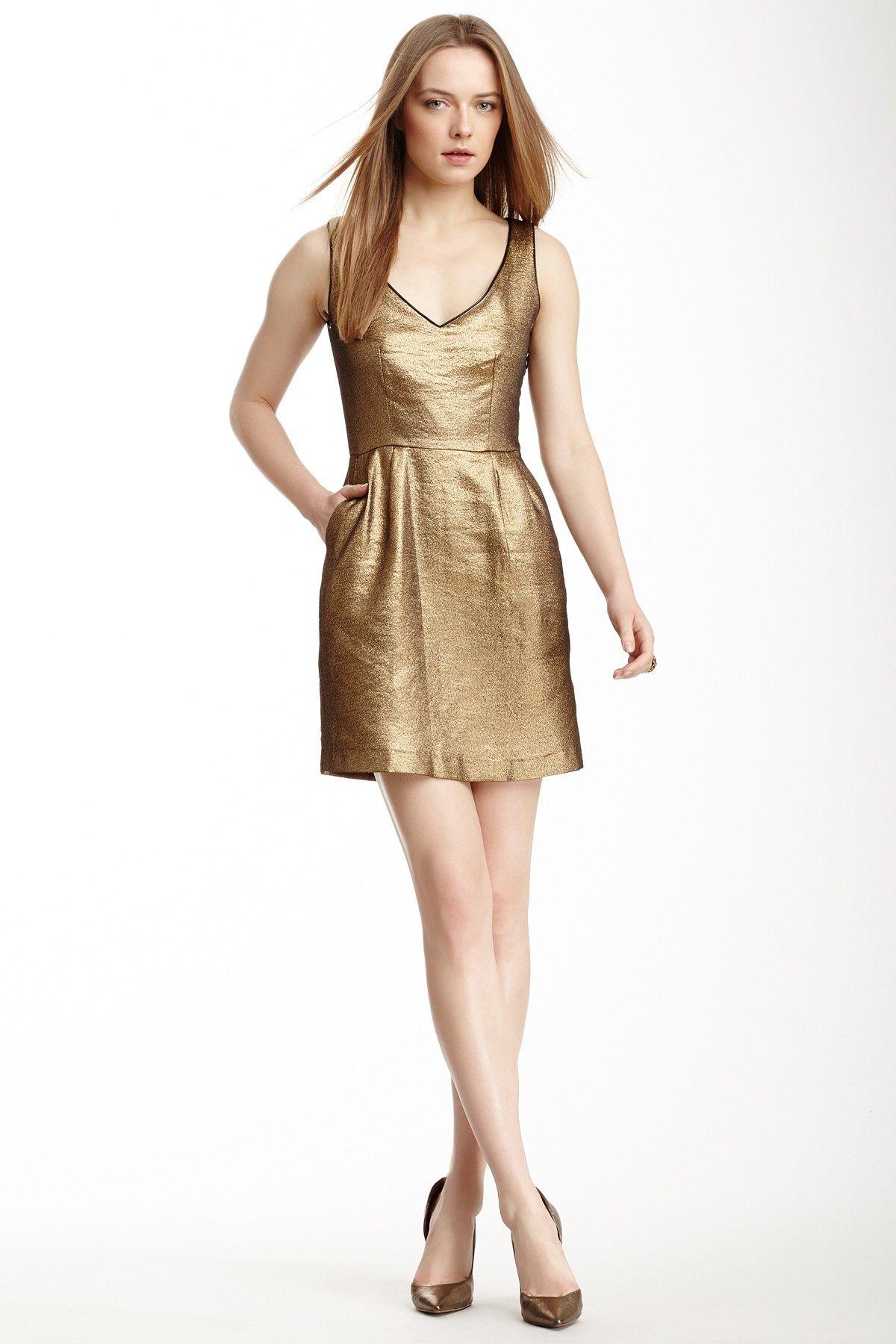 Metallic Tweed Pleated Front Dress
