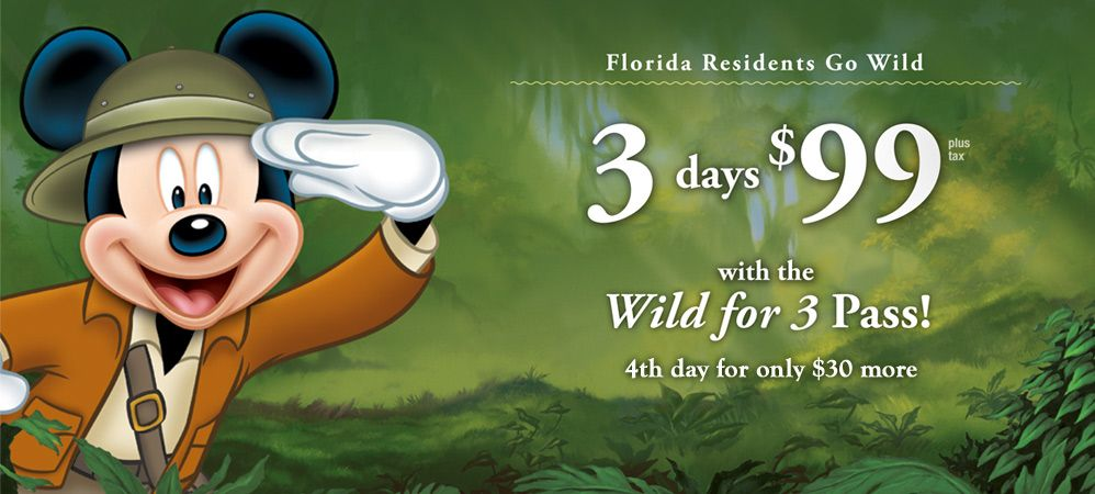 Walt Disney World's Florida Resident Wild for 3 Pass is back, only $99, plus