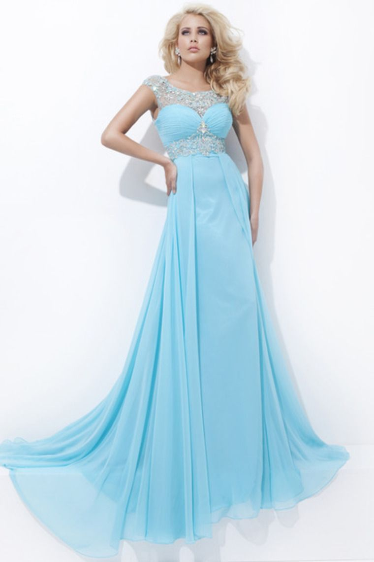 clearance prom dresses scoop chiffon color as picture size