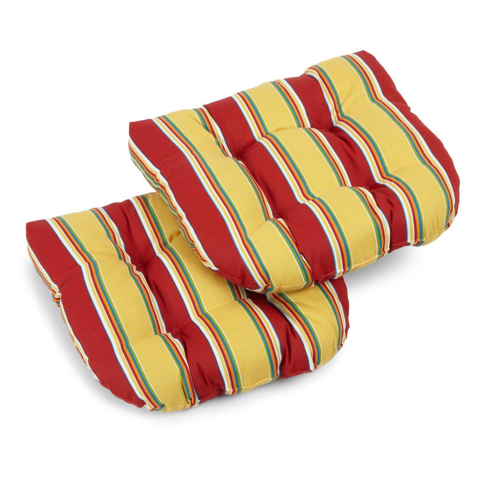 Blazing Needles Outdoor All Weather Uv Resistant Standard U Shaped Patio Chair Cushion Set Of 2 52 99 Hayneedle