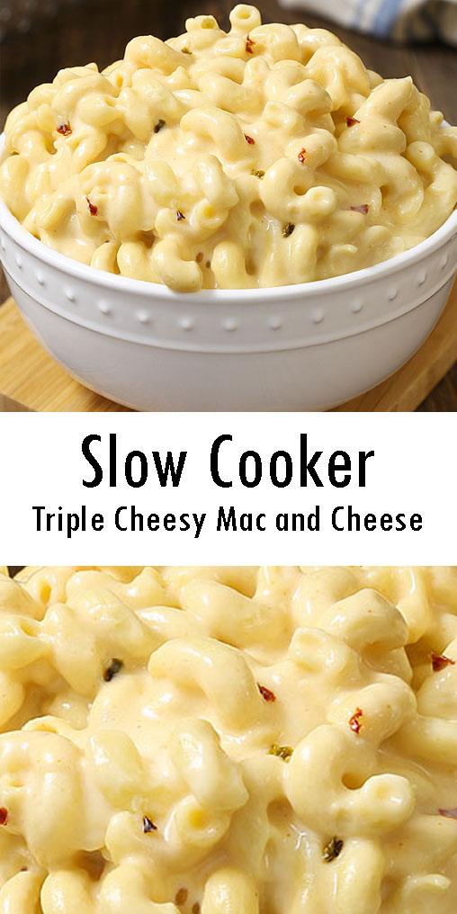 Slow Cooker Triple Cheesy Mac and Cheese Recipe #SlowCooker #Triple #Cheesy #Mac #Cheese #Recipes #slowcooker #macandcheese #recipe #easyrecipe #food #foodrecipe #cooking #kitchen