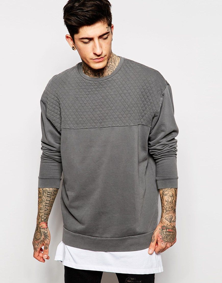 ASOS Oversized Sweatshirt With Quilted Panel & Pigment Wash ...