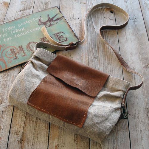 Leather and linen bag