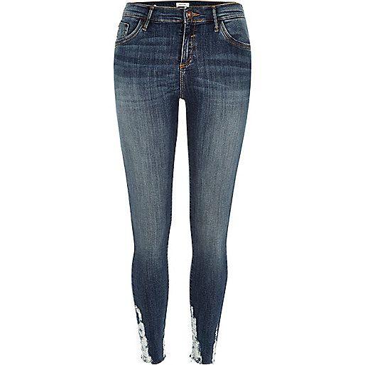 Dark wash super skinny jeans womens