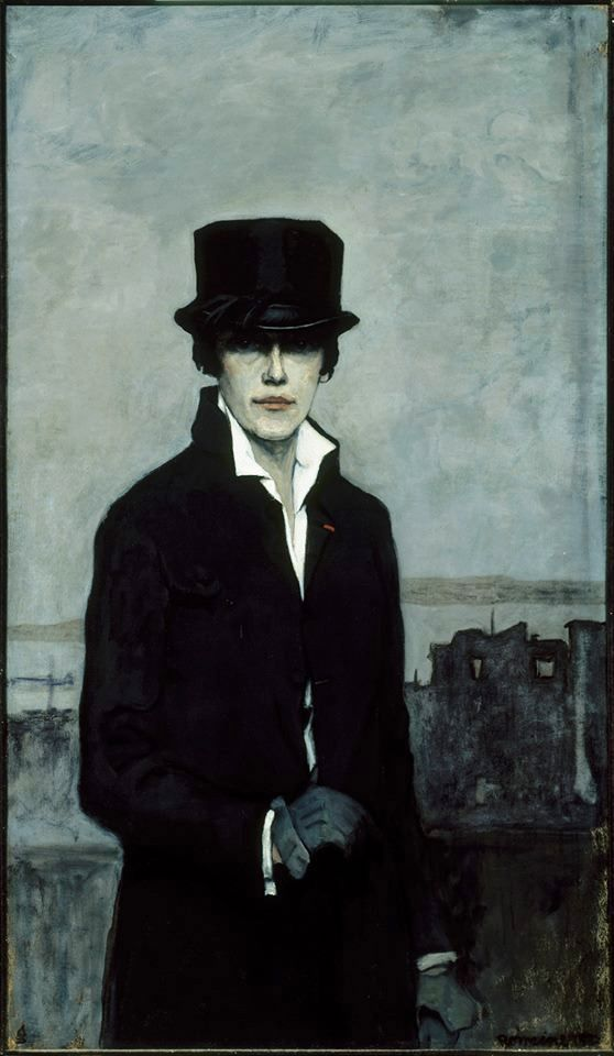 Romaine Brooks, self-portrait, oil on canvas, 1923. She was born in Italy in 1874 and spent most of her adult life in Paris where she assumed an androgynous identity. She was awarded the Legion of Honor medal for her artistic achievements.