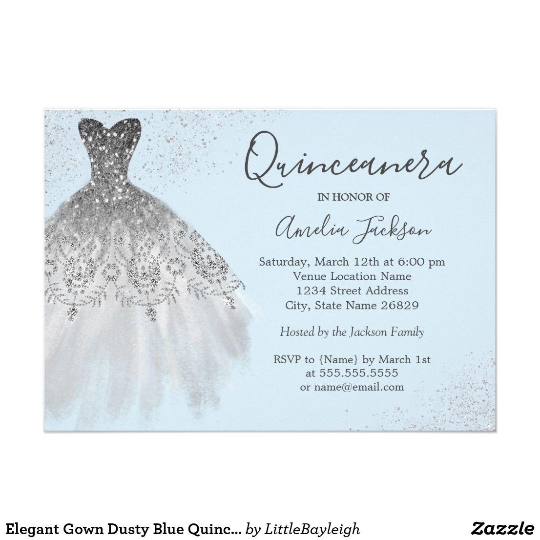 Elegant Gown Dusty Blue Quinceanera Invitation Zazzle