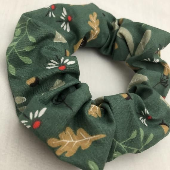 Green Woodland Nature Hair Scrunchie #hairscrunchie