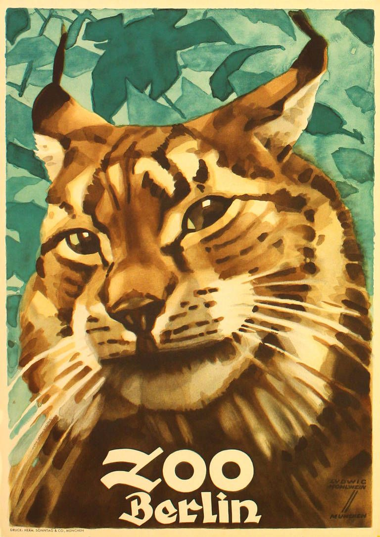 Zoo poster design - Ludwig Hohlwein Original Vintage 1930s Poster For Berlin Zoo Featuring A Lynx By Ludwig Hohlwein