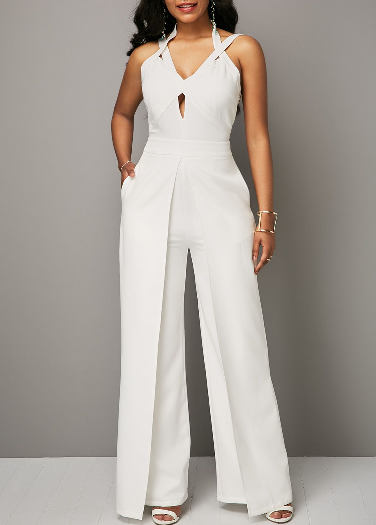 Solid White Overlap Open Back Jumpsuit Jumpers Jump Suits