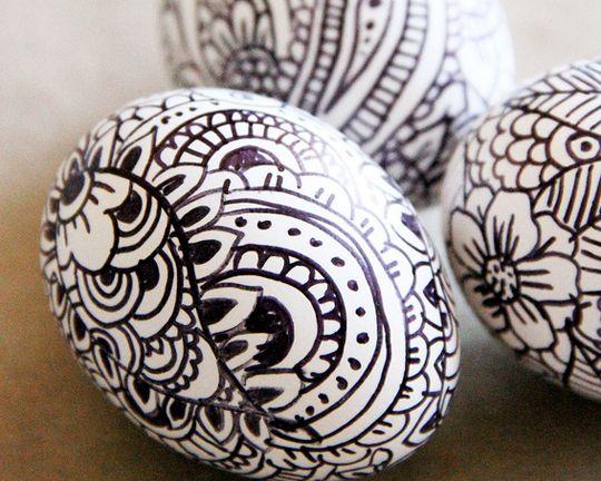 Creative Easter Egg Coloring Idea Sharpie Pen Art