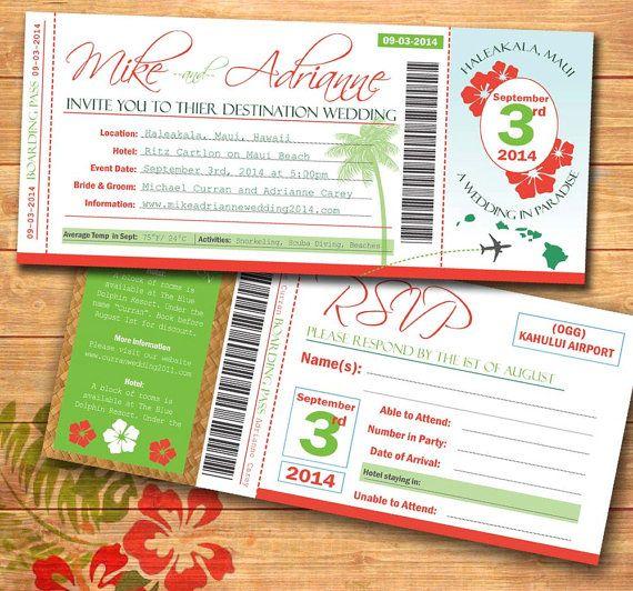 Plane Ticket Wedding Invitations: DIY Tropical Plane Ticket Wedding Invitation- Print Your