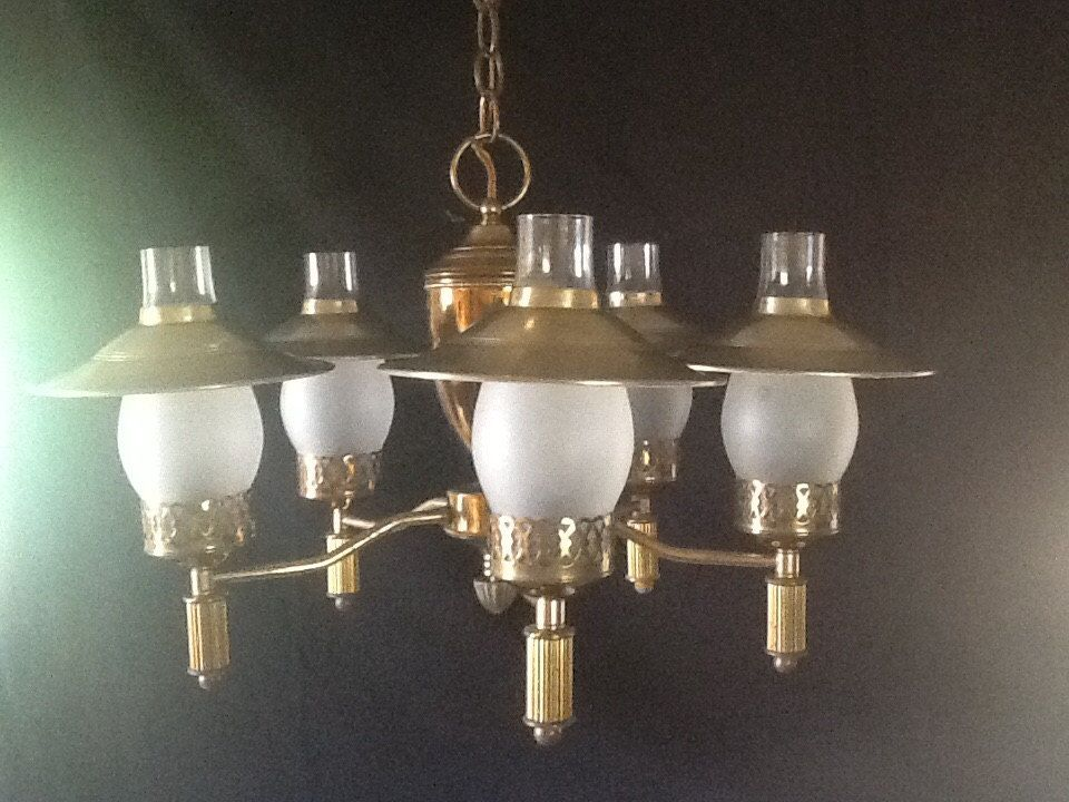Vintage early american brass chandelier 5 shades 1930s colonial vintage early american brass chandelier 5 shades 1930s colonial mozeypictures