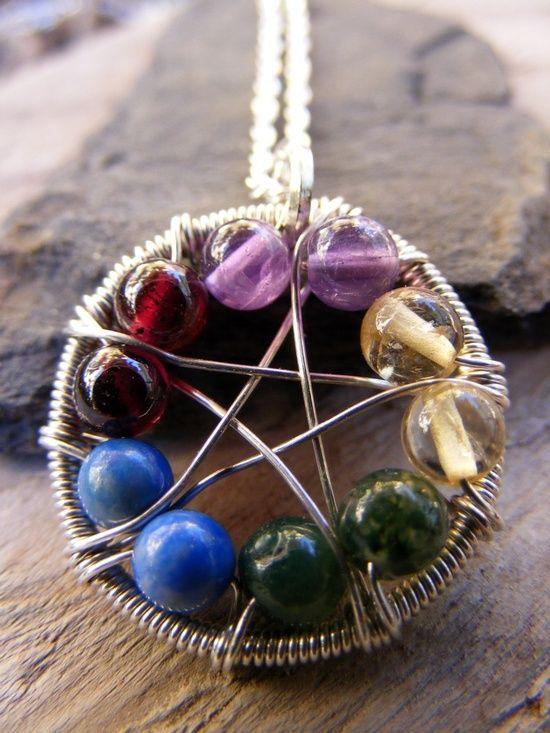 Pentagram Anhänger aus Draht gebogen / selbstgemacht mit Perlen ...