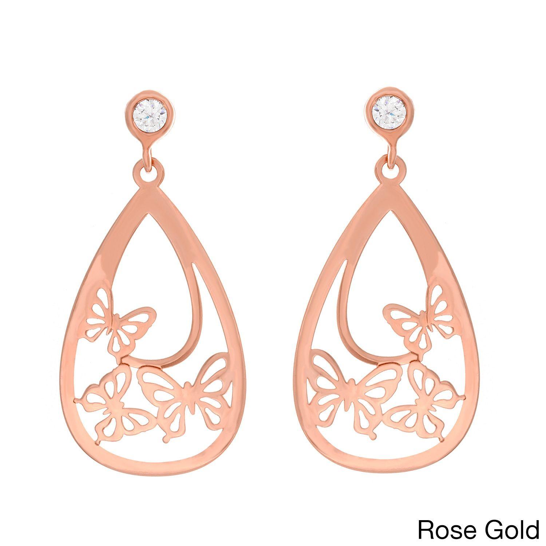 Sterling Essentials 14k Goldplated Silver Cubic Zirconia Butterfly Pear Dangle Earrings (