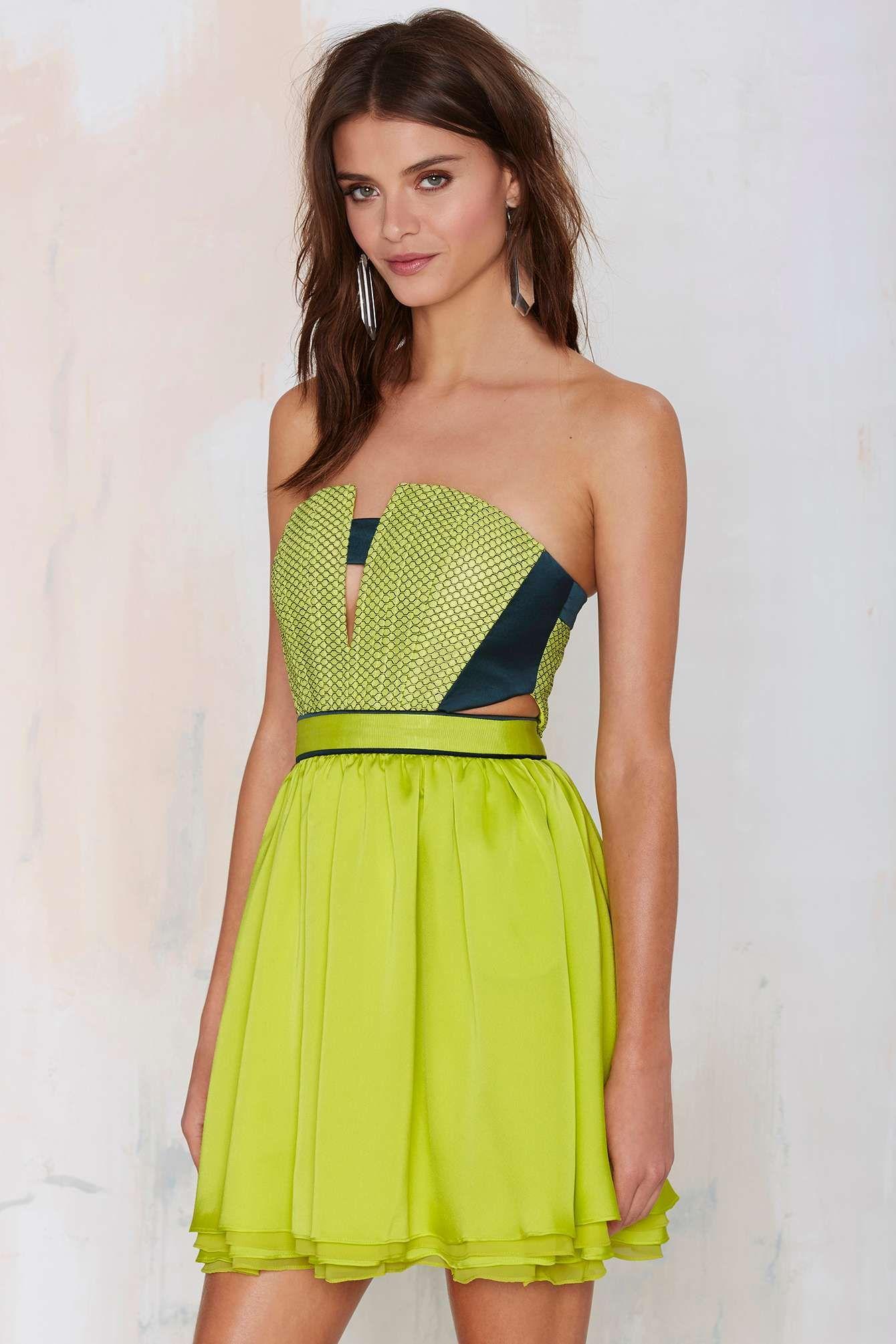 Three floor moretz strapless dress neon dresses pinterest