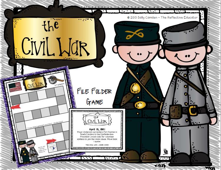Civil War File Folder Game Folder games, File folder