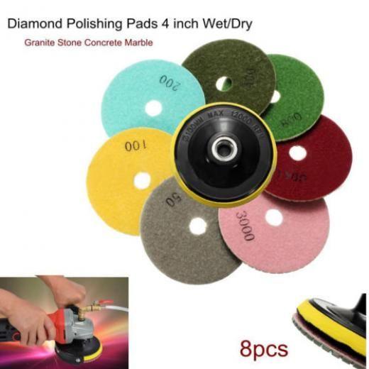 7 Inch Diamond Polishing Pads 9 Piece Set WET//DRY Granite Concrete Stone Marble