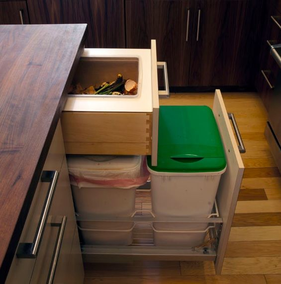 compost idea use that top drawer above your garbage cans for a recessed compost bin kitchen