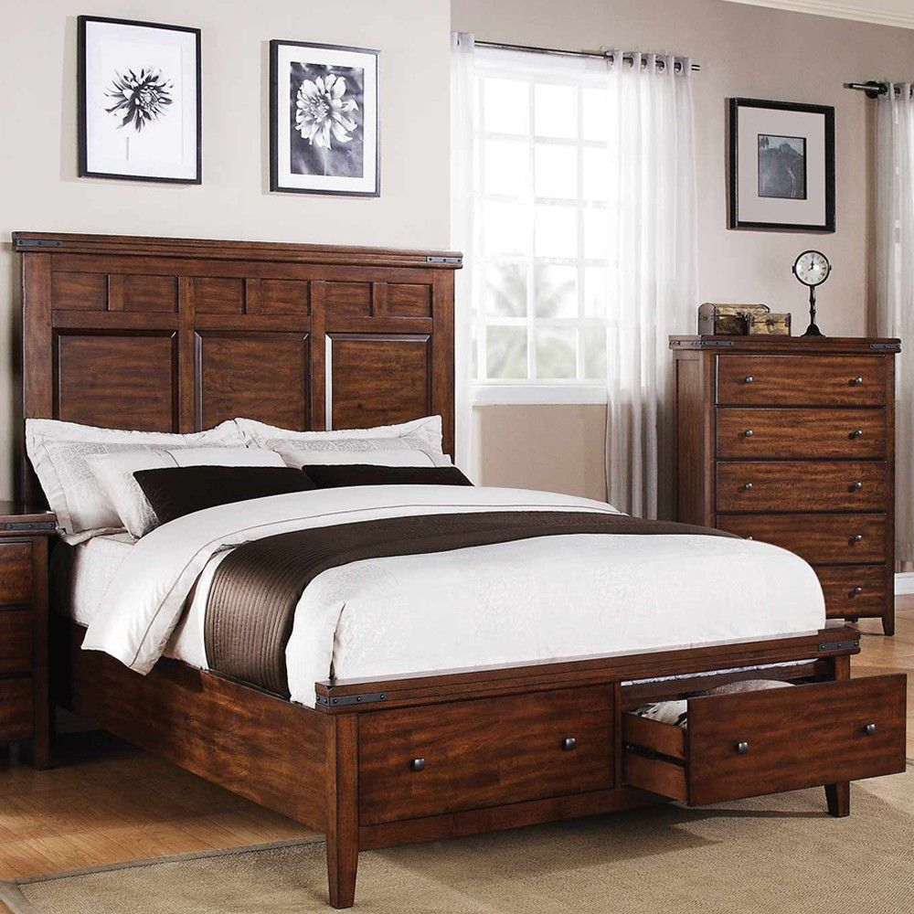 Mango Wood Panel Storage Bed in Mango by Winners Only