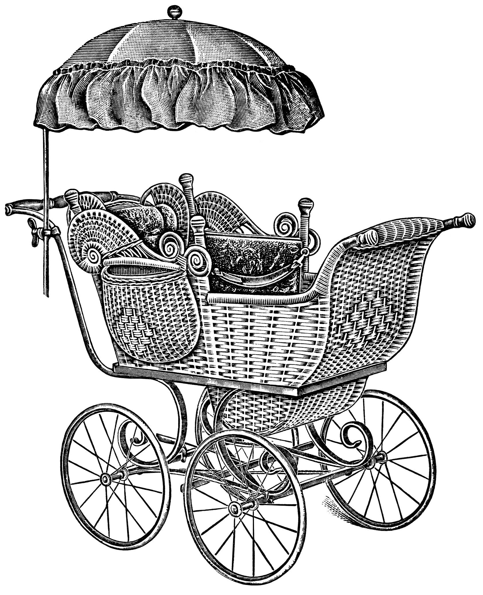 old catalogue page vintage baby clip art antique baby carriage illustration free black and white clipart pram carriage graphic parasol covered baby  [ 1683 x 2071 Pixel ]