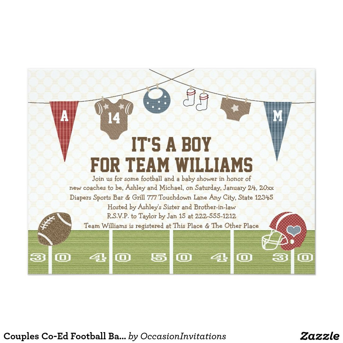 Couples Co-Ed Football Baby Shower Invitations   baby shower ...