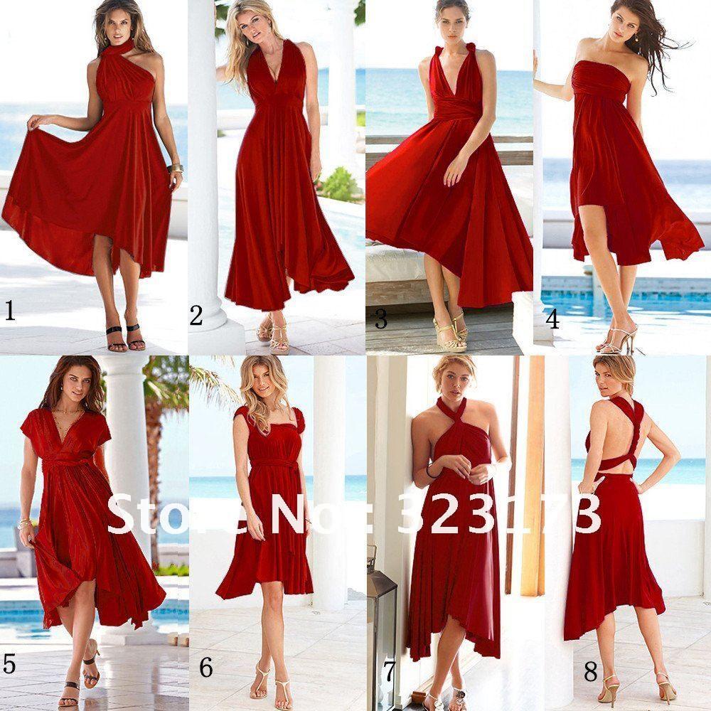 Kinds of formal burgundy chiffon halter v neck knee length for Red tea length wedding dress