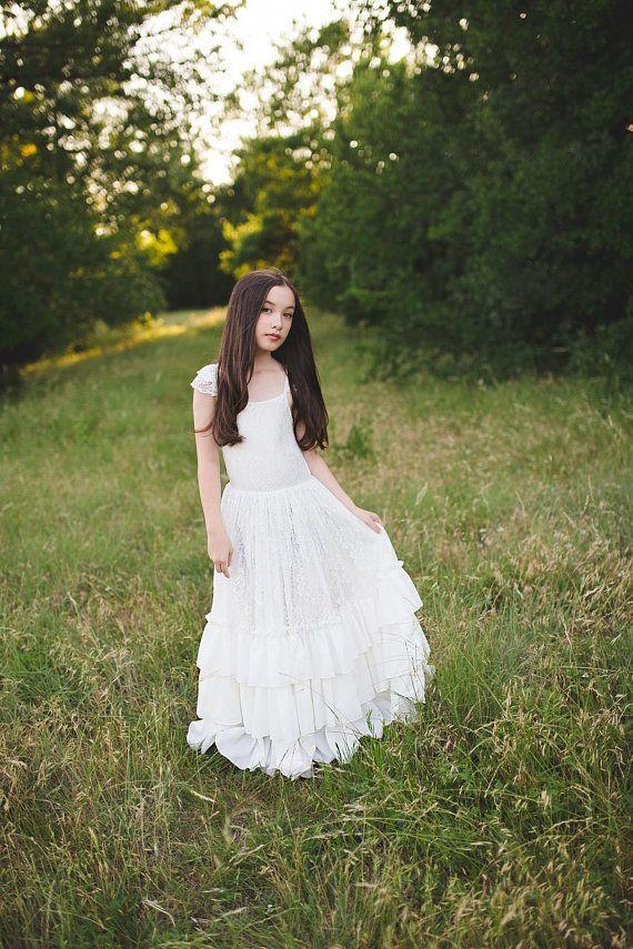 15548d783 Girl Toddler Bohemian Lace Maxi Dress, Boho Flower Girl Dresses, Floral  Lace Dress, First Communion