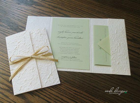Diy Pocketfold Invitation Kit With Light Green Cardstock Or Natural Raffia Sample