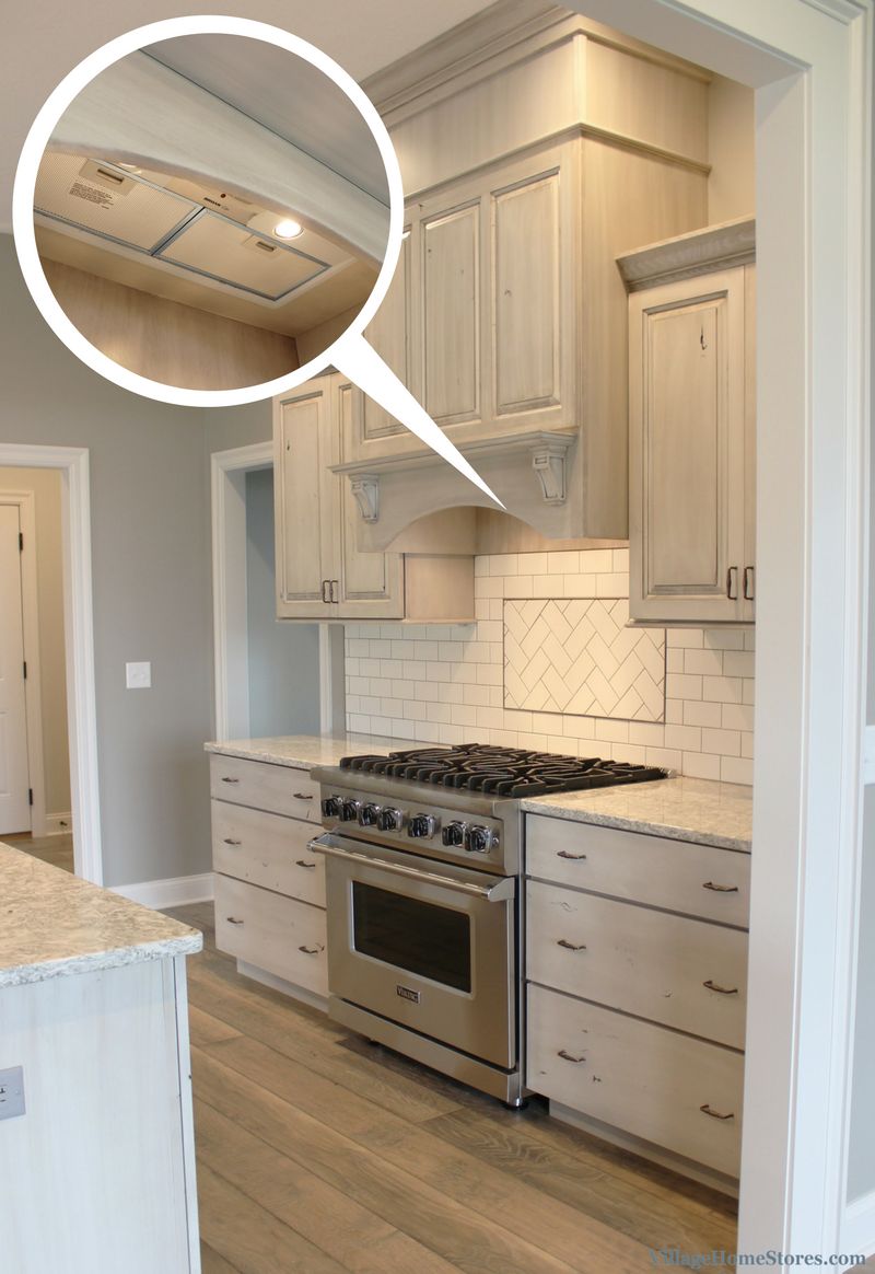 White Drift Painted Kitchen With Wood Hood And Broan Insert. Kitchen Design  By Village Home