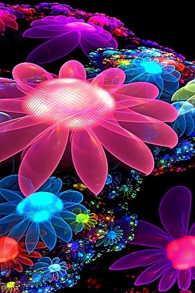 3d Neon Flowers Wallpaper Iphone Best Iphone Wallpaper Neon Flowers Flower Wallpaper Colourful Background Wallpapers Iphone wallpaper images 3d