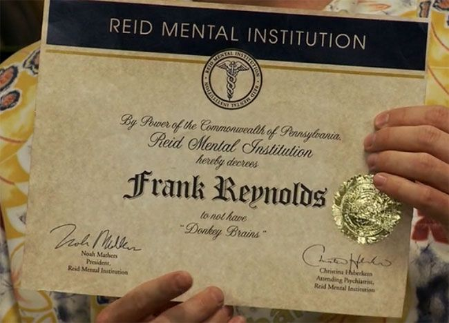 Frank has a certificate saying hes NOT donkeybrained Do YOU – Certificate Sayings