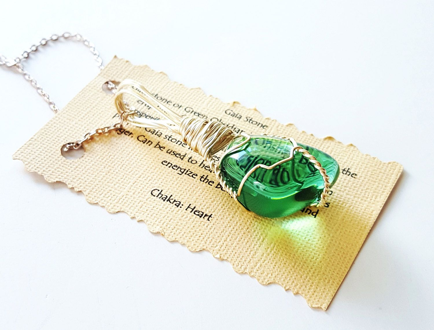 Wire Wrapped GAIA Stone (Green Obsidian)Positive Healing Reiki Energy Crystal Pendant Necklace Boho Chic Magic Wicca Gypsy Jewelry GS4916-3 by TheStoneFairyShop on Etsy