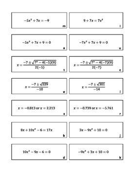 Quadratic Formula Matching | Algebra 1 | Algebra 2, Algebra