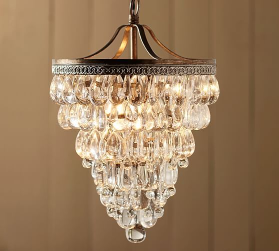 Clarissa Crystal Drop Small Round Chandelier | Pottery Barn | Home ...