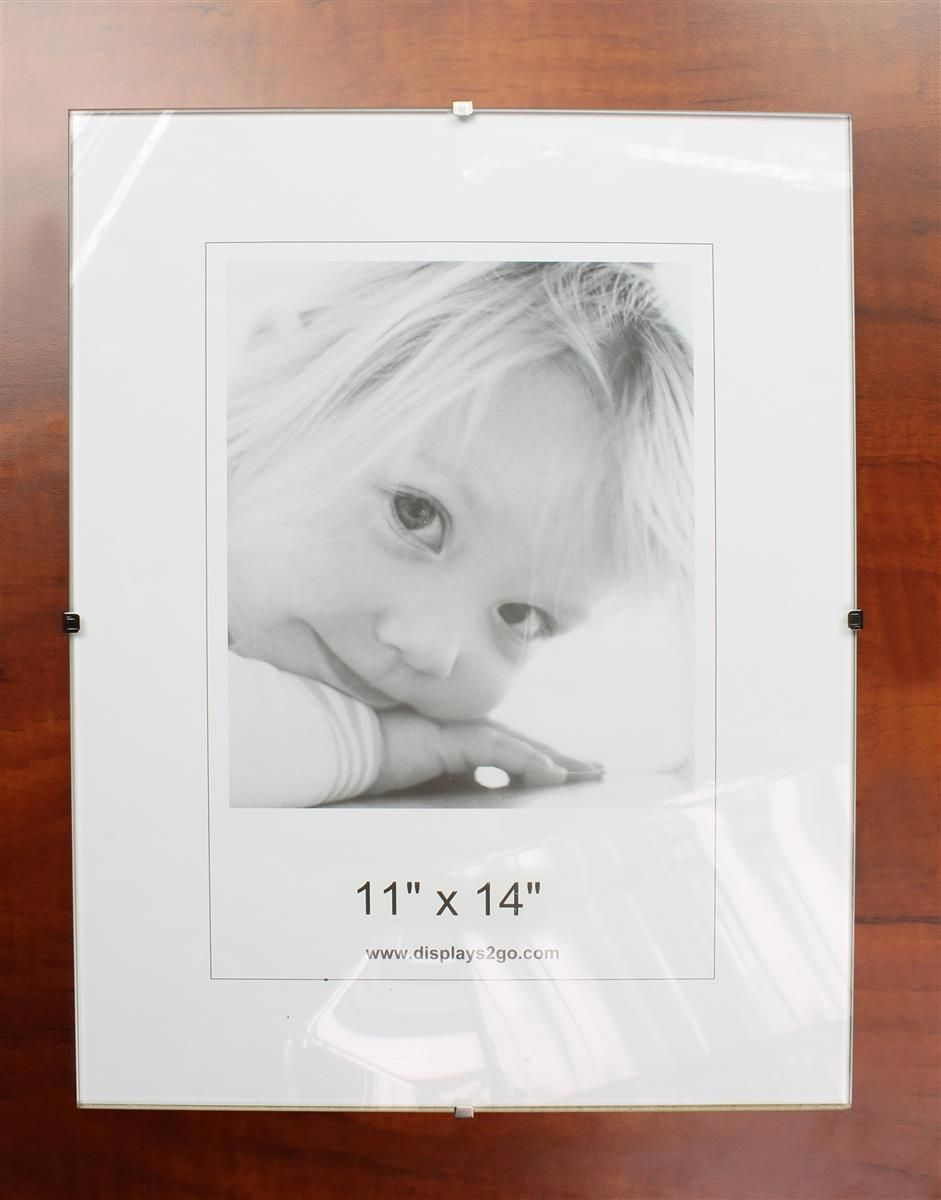 11 X 14 Frameless Picture Frame For Wall 6 Side Clips Clear Glass Frameless Picture Frames Picture Frames Frame
