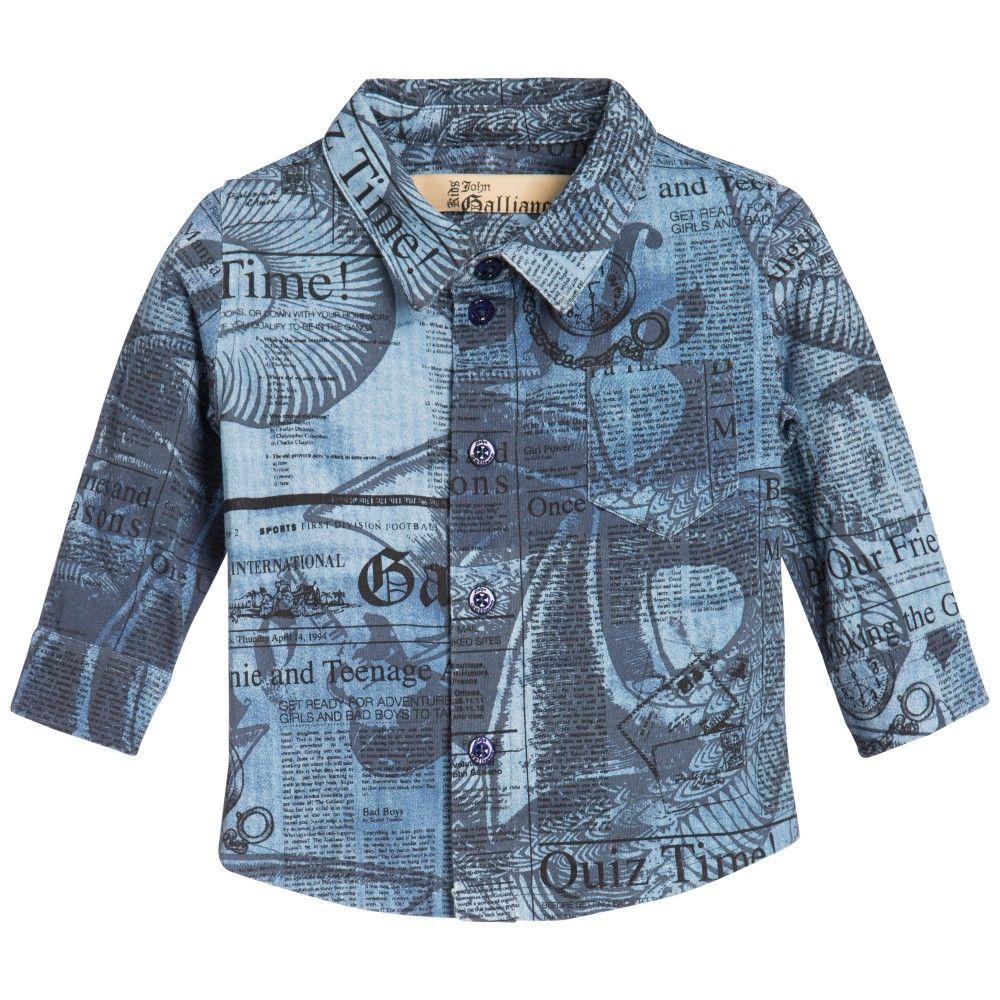 ae789b57c764 John Galliano Baby Boys Blue Gazette Print Shirt at Childrensalon ...