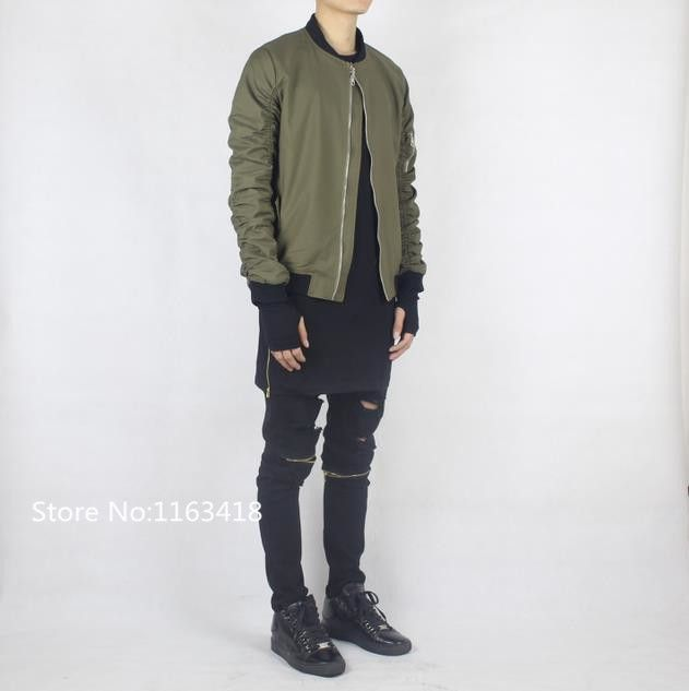 e9f2f69cce6 fashion bomber jacket men black olive green streetwear hip hop urban ...